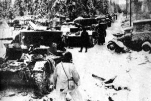 A colum of Soviet tanks